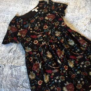 🆕Black Forever 21 Floral Skater Dress. Sz Medium